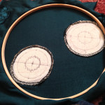 Medallions in wooden frame from the back