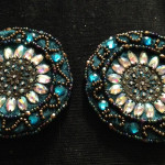 Teal Belt, part 1: beaded medallions and drapes.